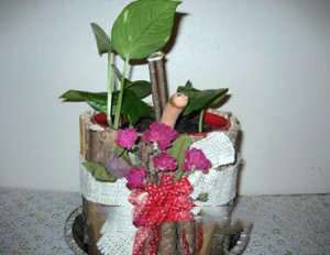 Цветочный горшок из кофейной банки