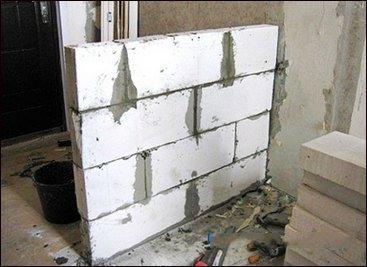 Как сделать перегородку из ячеистых блоков своими руками
