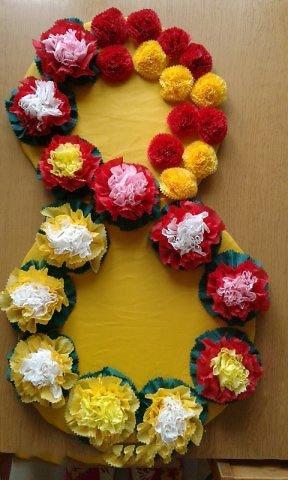 Цифра с цветами из салфеток своими руками