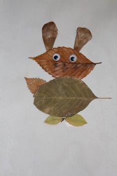 Аппликация вместе с ребенком из осенних листьев