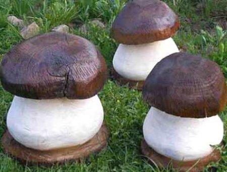 Деревянные грибы для сада
